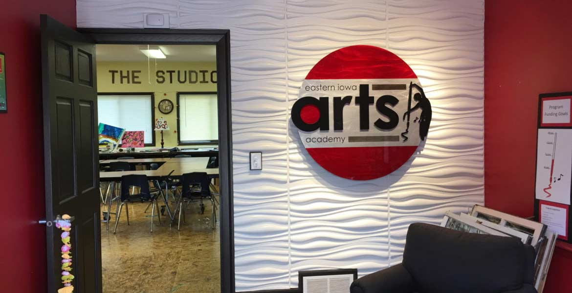 The interior of the Eastern Iowa Arts Academy offices